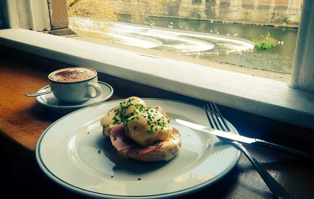 Chez Dominique - Brunch of Eggs Benedict, coffee, view of Pulteney Weir from the dining room
